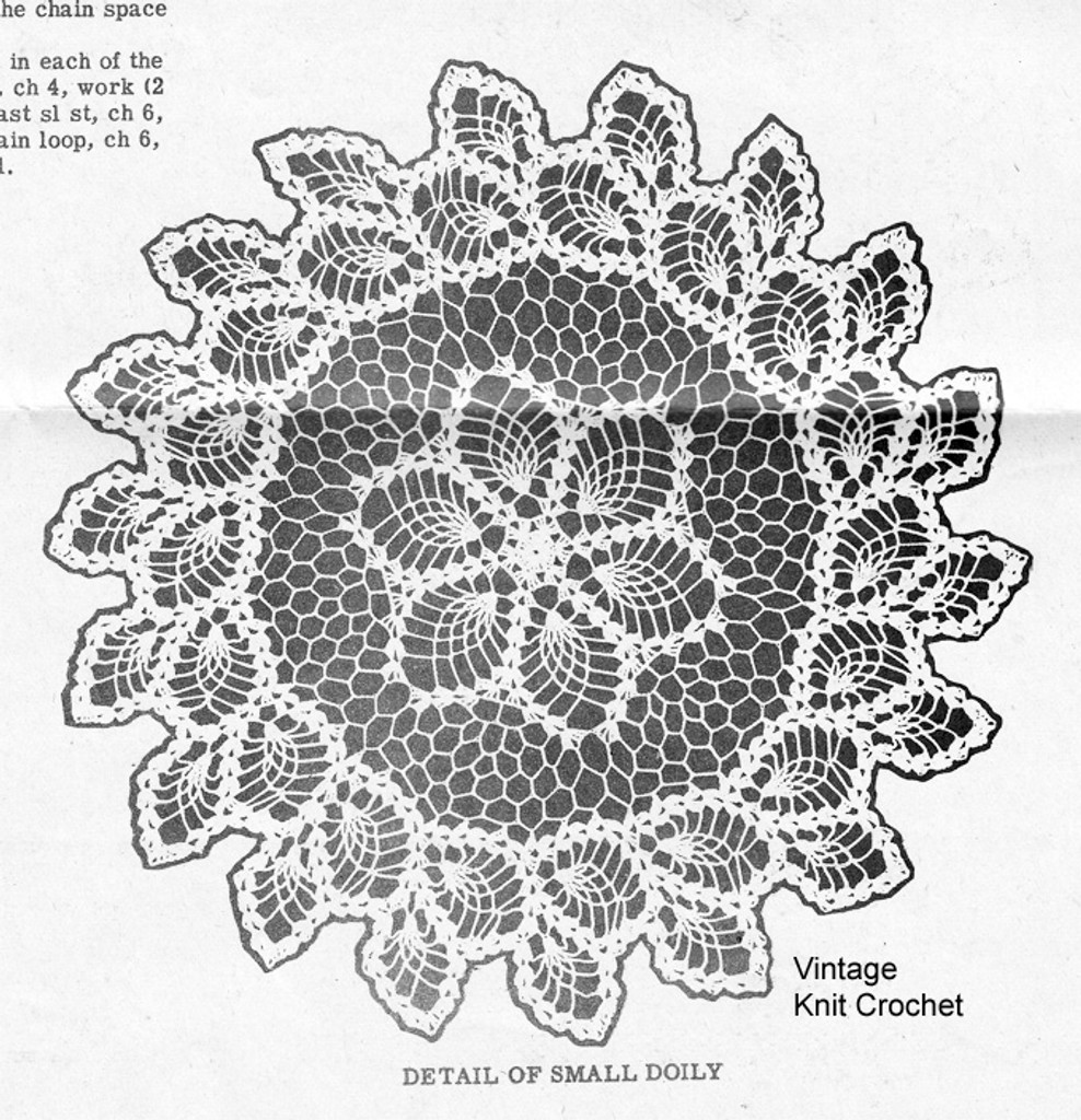 Crochet Doily with Double Pineapple Border Illustration, Design 7629