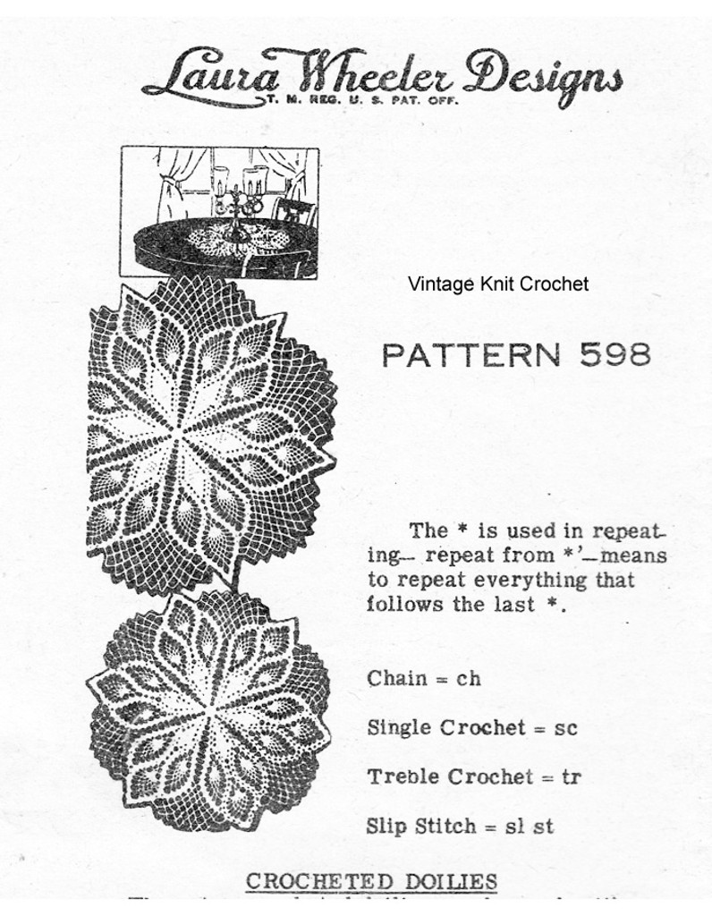 Large Pineapple Crocheted Doilies Pattern, Mail Order 598