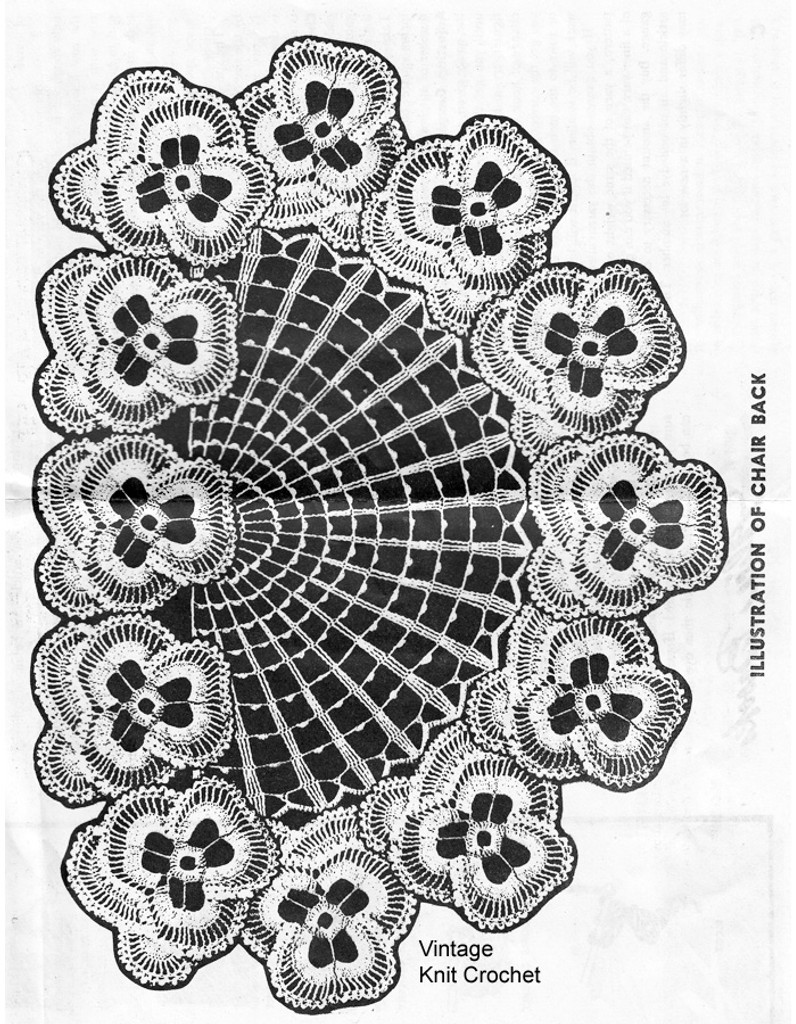 Pansy chair back pattern illustration, Alice Brooks 7284