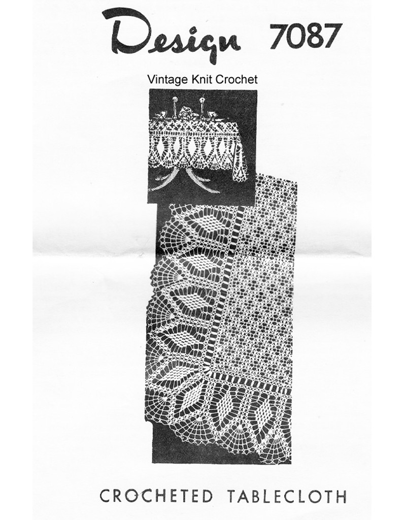 Crochet Pineapple Tablecloth Pattern, Mail Order 7087