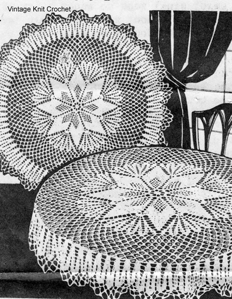 Crocheted Round Cloth pattern, star motif, Alice Brooks 6084