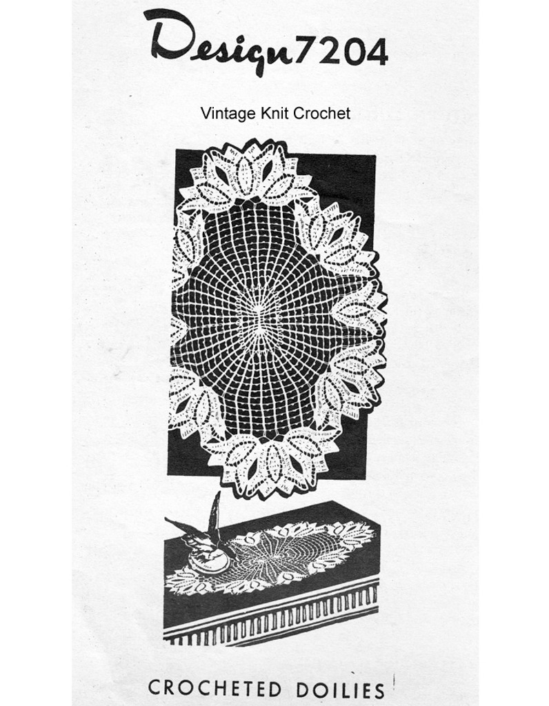 Tulip Crochet Doily pattern in picot mesh, Mail Order 7204