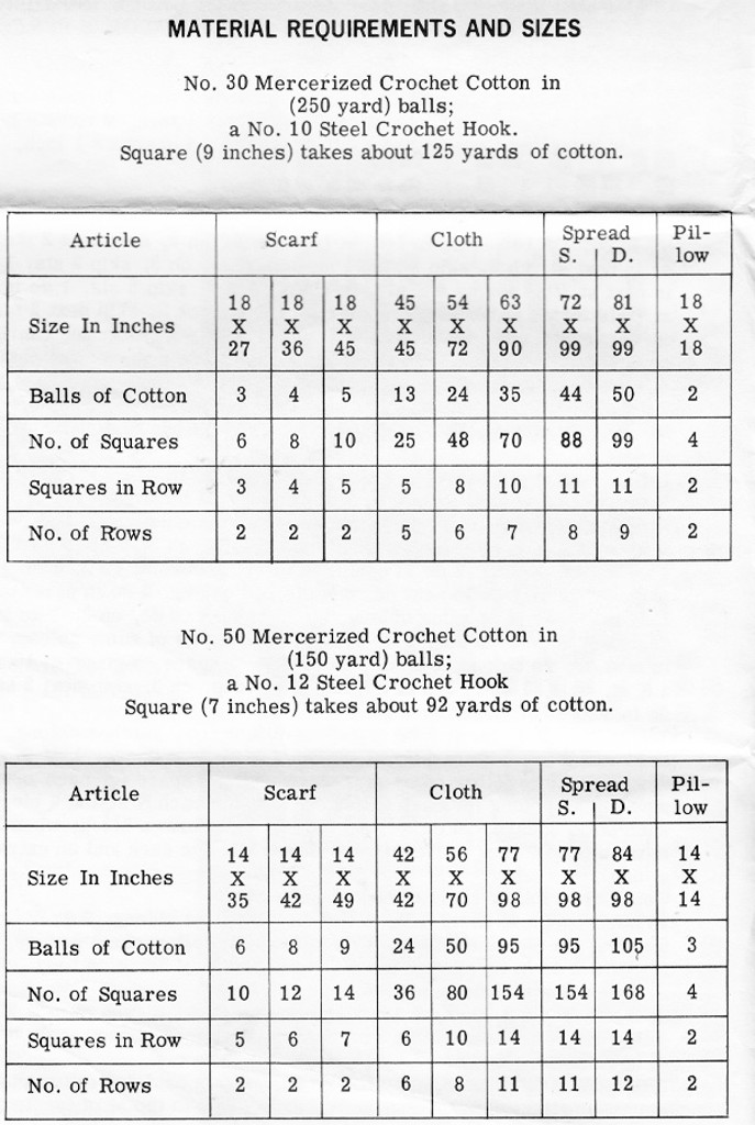 filet crochet, 7 and 9 inch square pattern Design 547