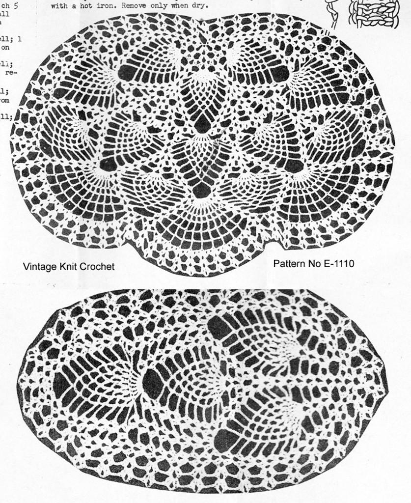 Crochet Pineapple Chair Doily pattern illustration, Needlework Bureau E-1110