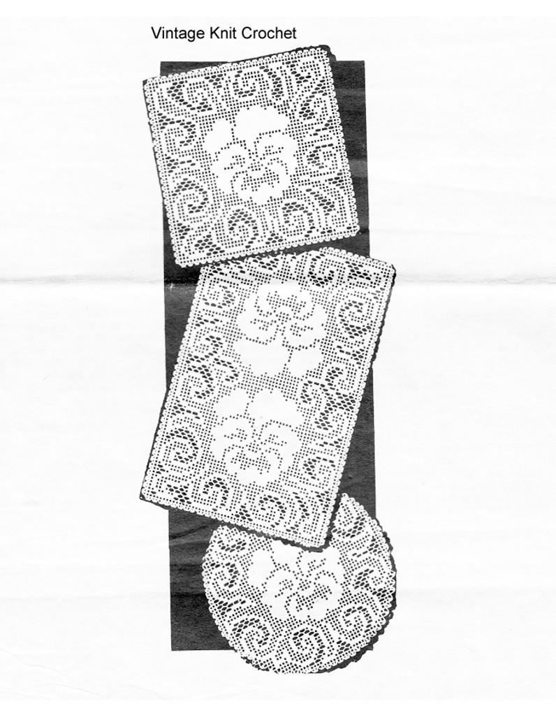 Vintage Pansy Filet Crochet Doilies Pattern, Square Round Oval, Design 667