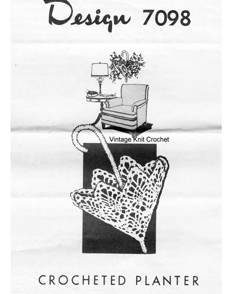 Crochet Planter Pattern, Mail Order Design 7098
