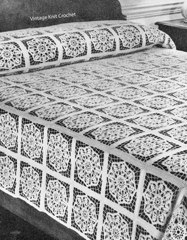 Circle Block Crochet Bedspread Pattern, Vintage 1940s