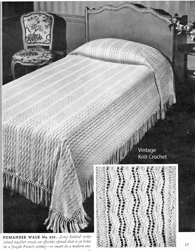 Knitted Lace Bedspread pattern in panels
