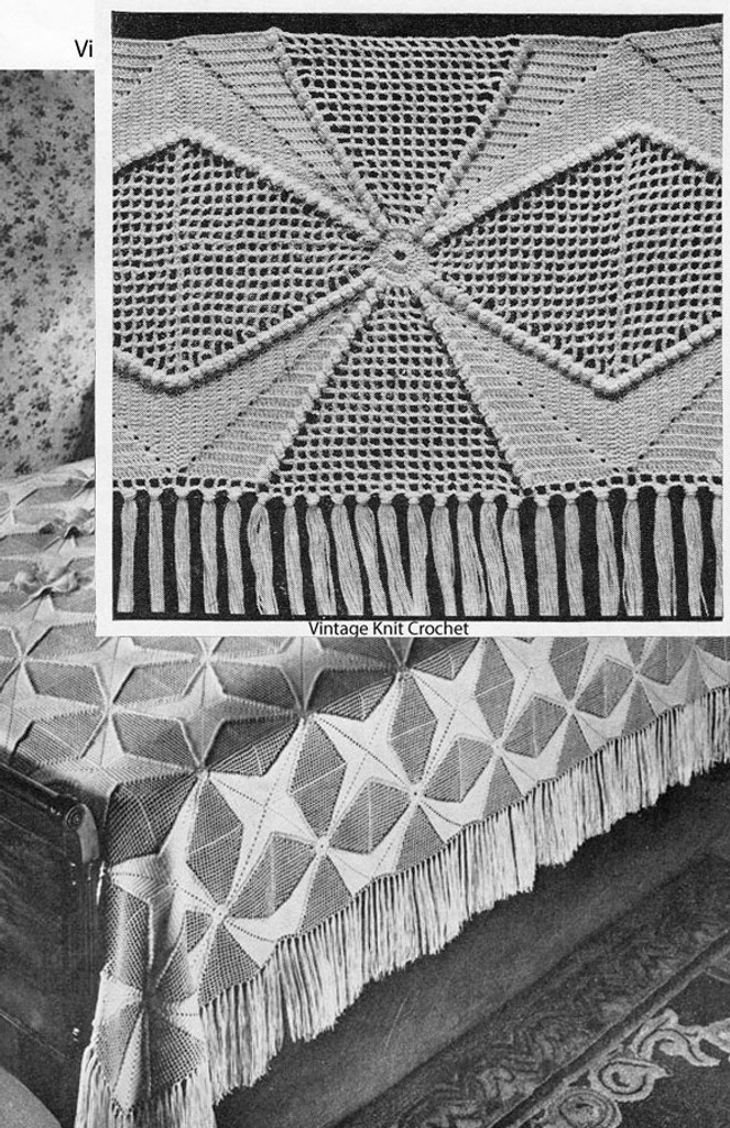 Crochet Popcorn Star Bedspread Pattern, Squares