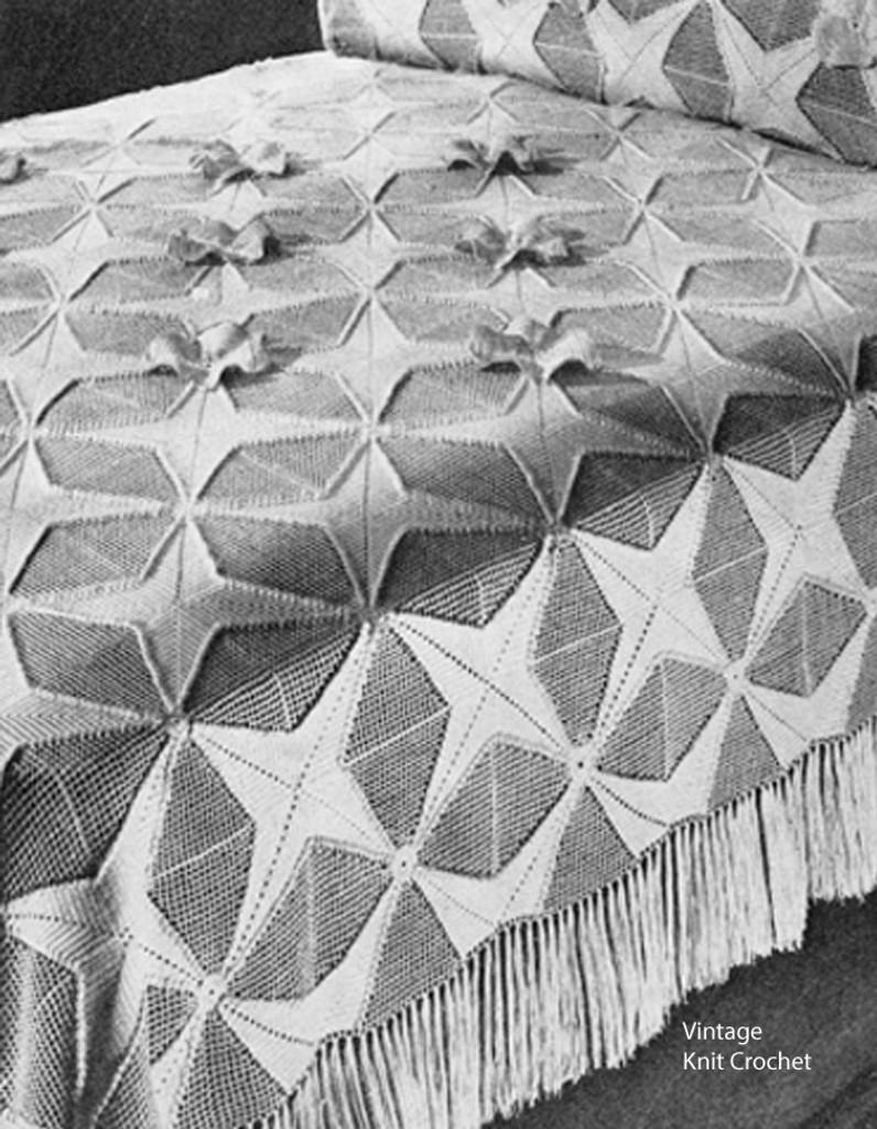 Vintage Geometric Star Crochet Bedspread Pattern