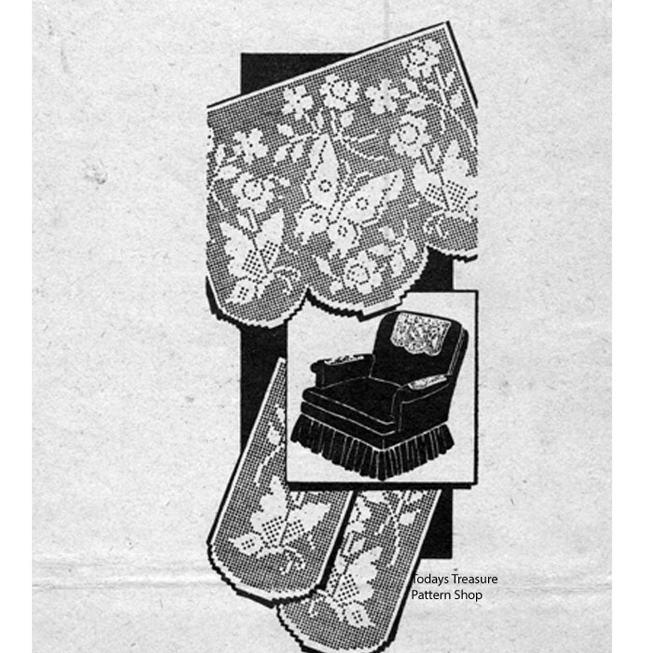 Vintage Filet Crocheted Butterfly Pattern