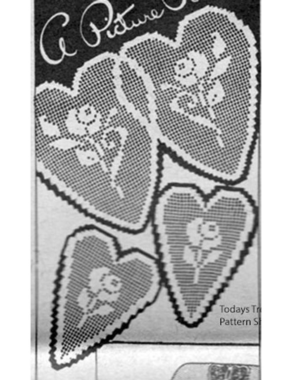 Crocheted Rose in hearts chair set pattern, Ellen Bruce E-1121