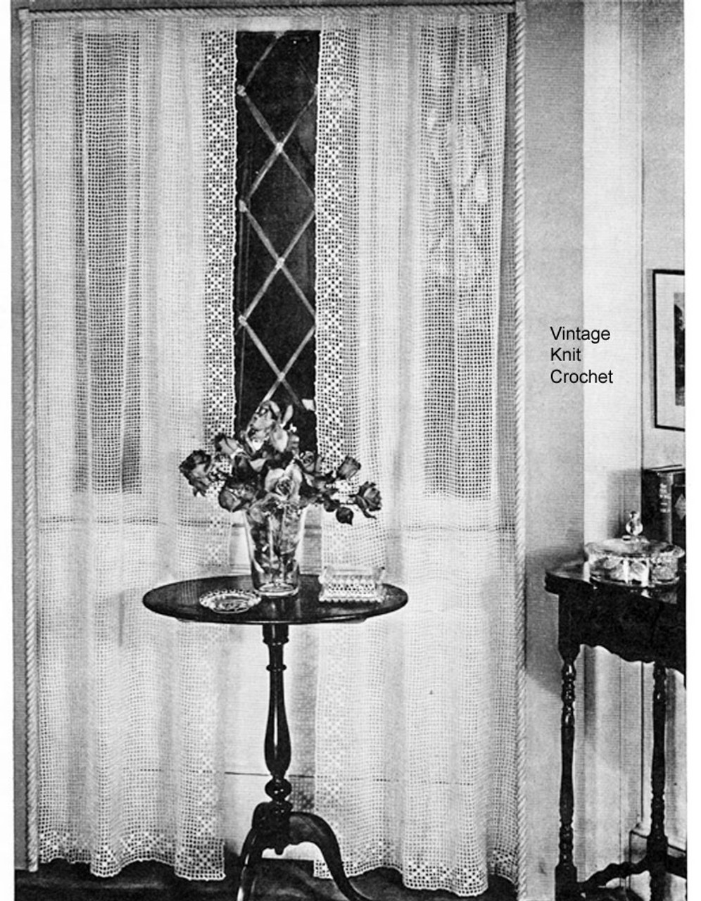 Filet Crocheted Curtain Pattern No 9389