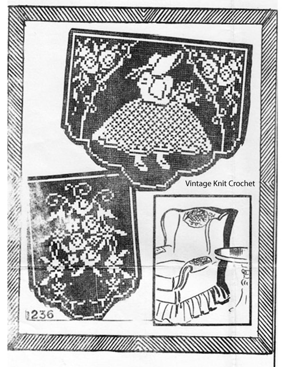 Sunbonnet Sue Filet Crochet Pattern, Chair Set, No E-1238