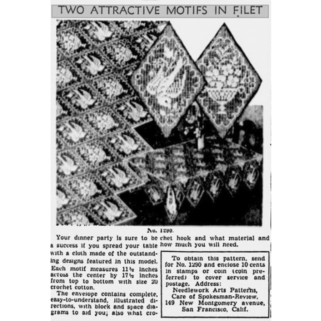 Filet Crocheted Squares Pattern