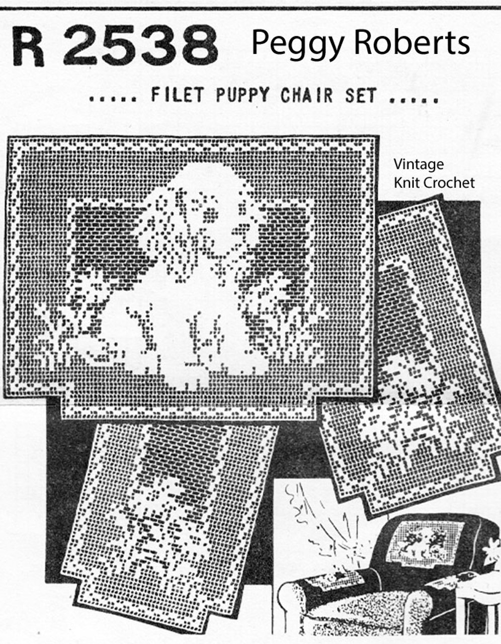 Filet Crochet Puppy Chair Set Pattern, Mail Order 2838