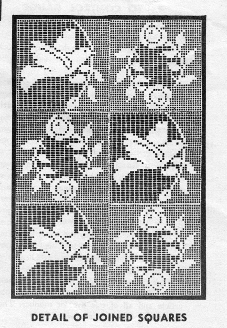 Vintage dove square cloth pattern in filet crochet