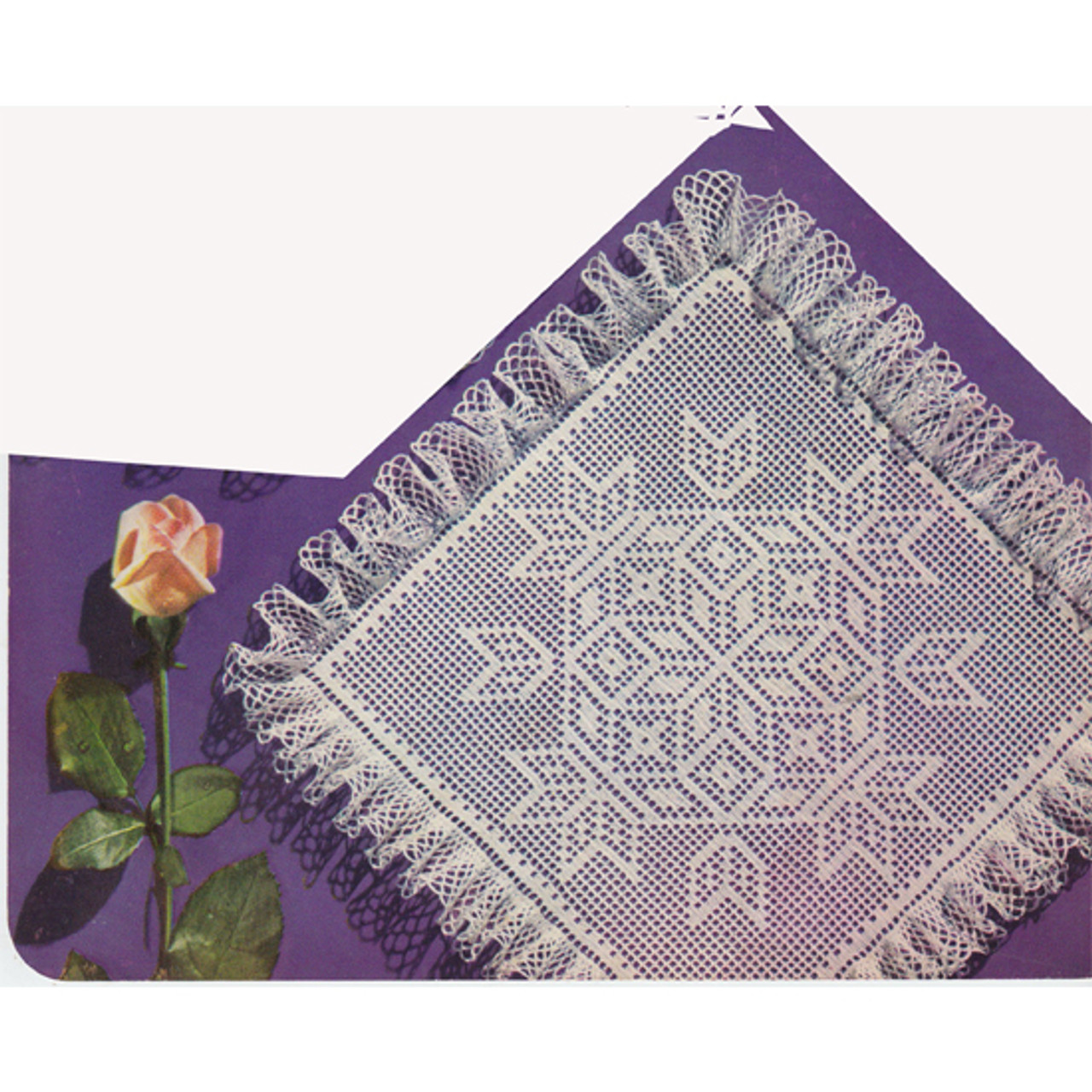 Ruffled Mosaic Filet Crochet Doily Pattern