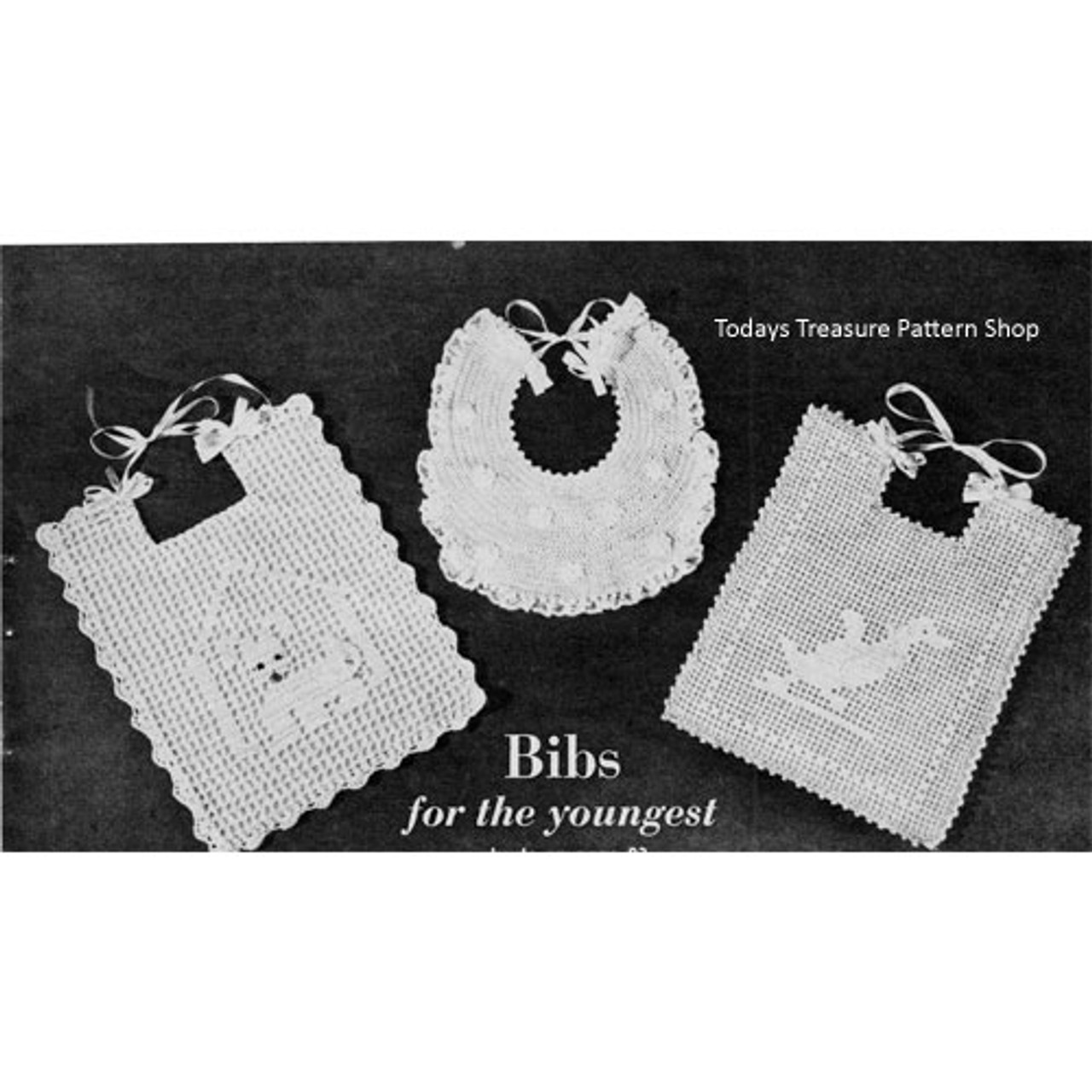 Filet Crocheted Baby Bibs Pattern