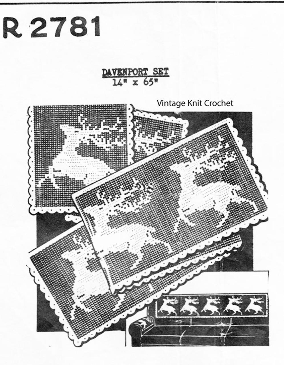Running Antelope Filet Crochet Pattern, Davenport Set, Mail Order 2781