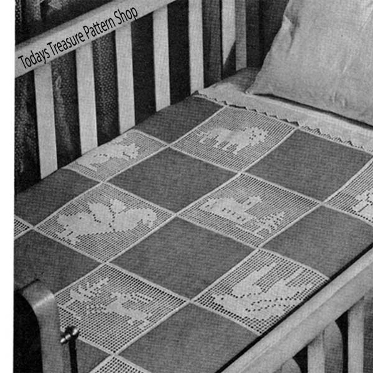 Filet Crochet Baby Blanket Pattern in animal blocks