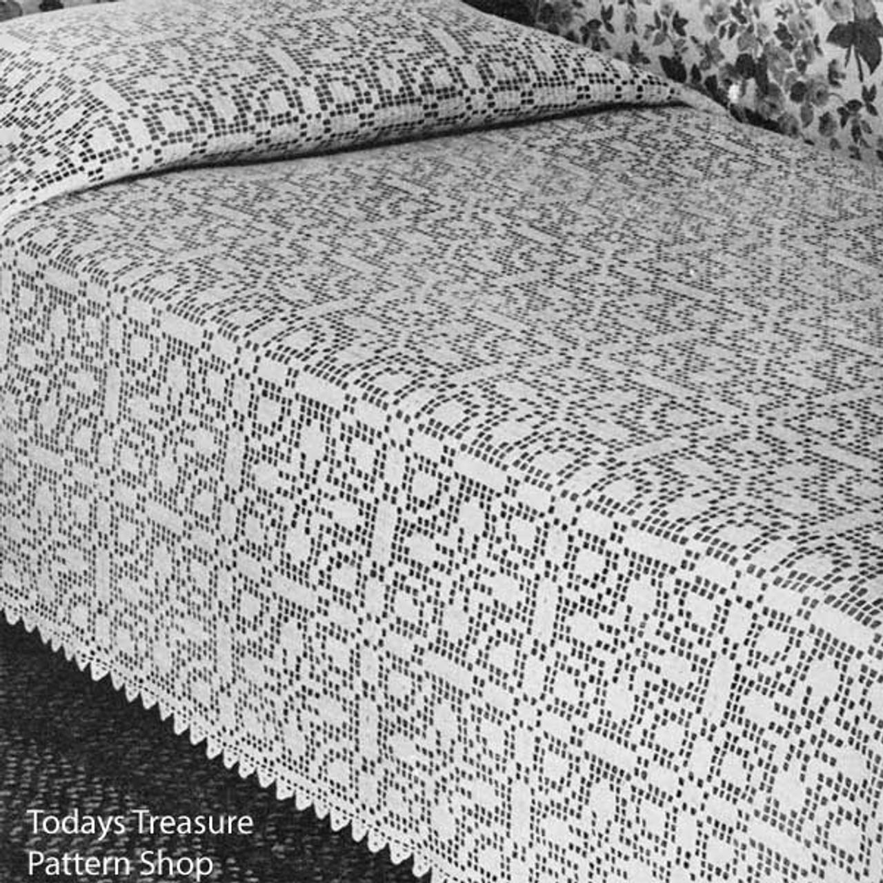 Ohio Farmhouse Bedspread Filet Crochet Pattern