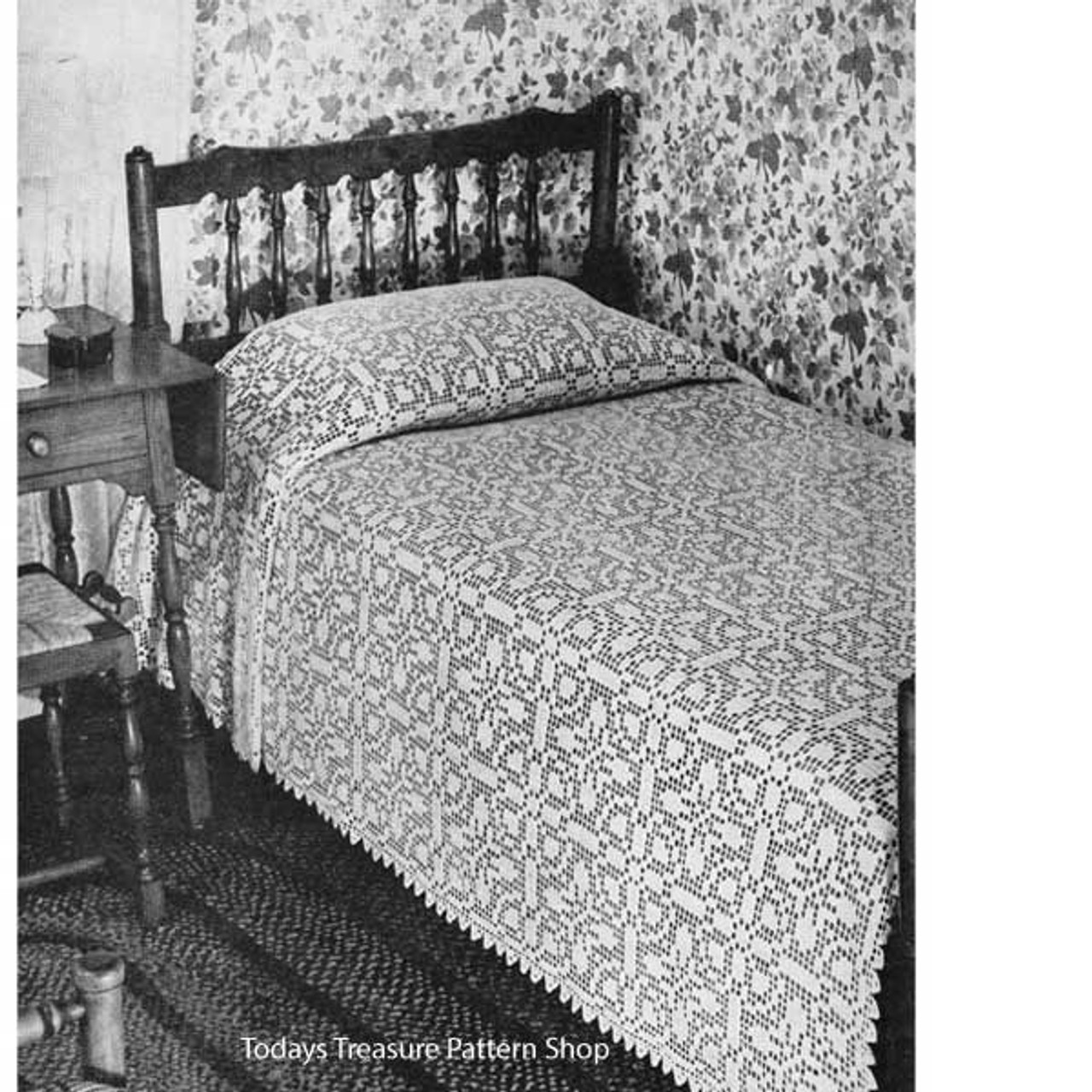 Vintage Farmhouse Filet Crochet Bedspread Pattern