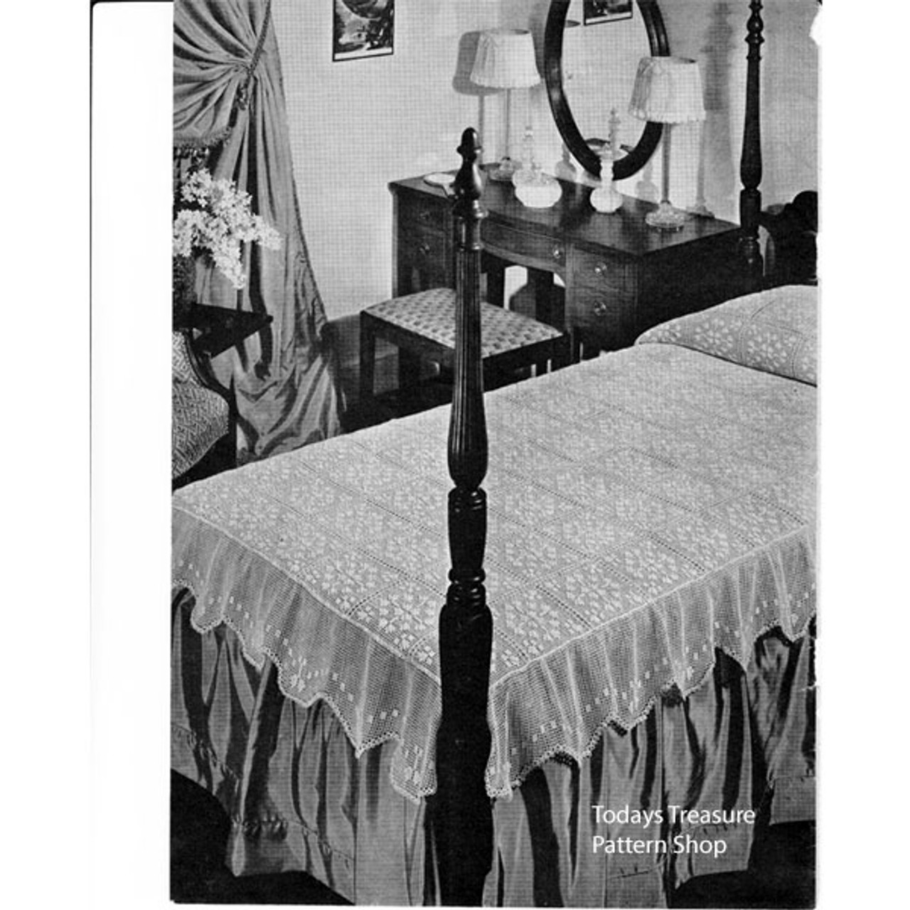 Filet Crochet Bedspread Pattern, Vintage 1940