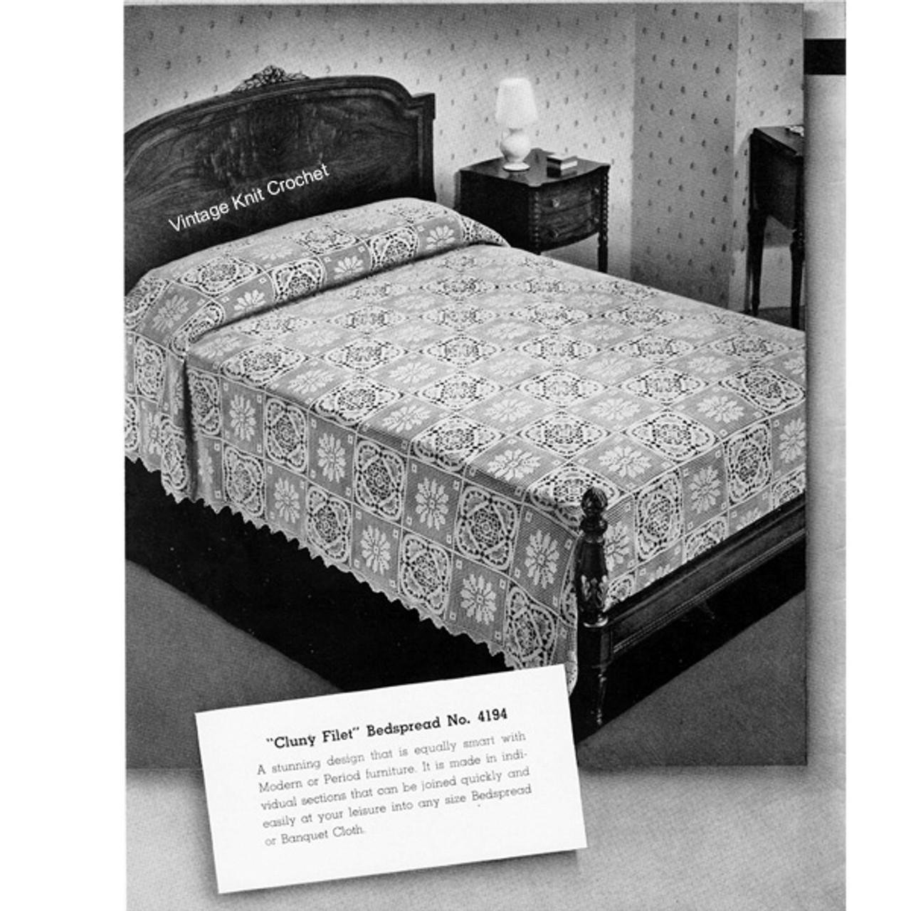 Cluny Filet Crochet Bedspread pattern no 4194