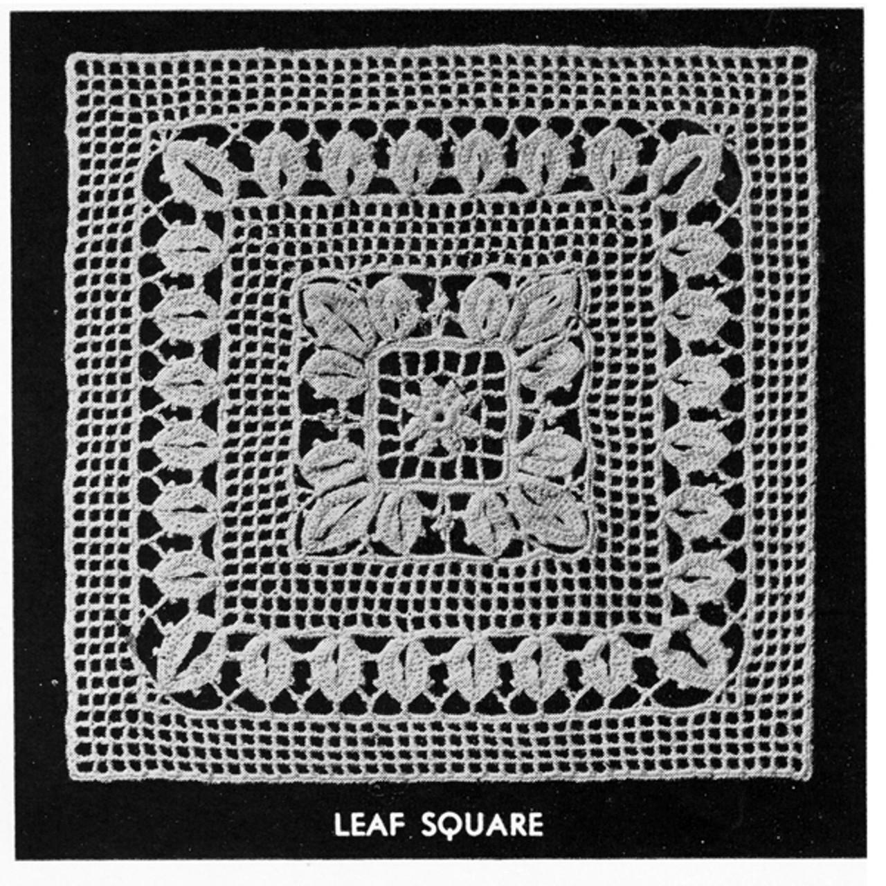 Filet Crochet Square Block for Tablecloth