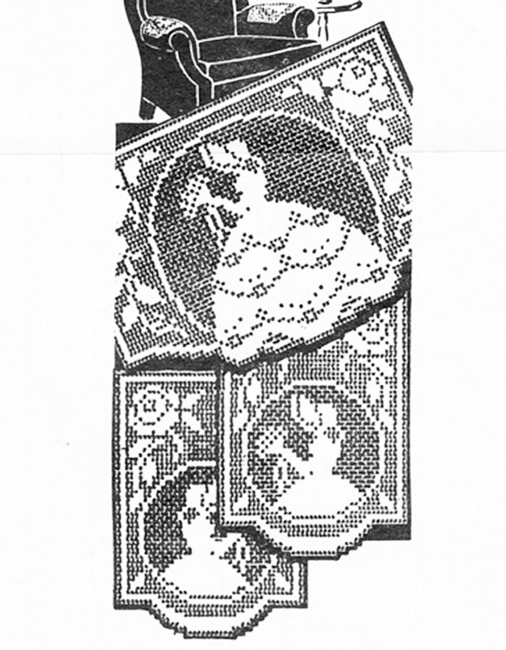 Vintage Old Fashioned Girl Filet Crochet Pattern