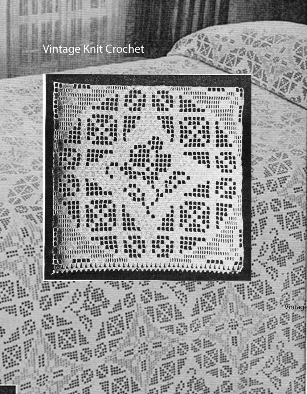 Filet Crochet Bedspread Pattern, Rose Window