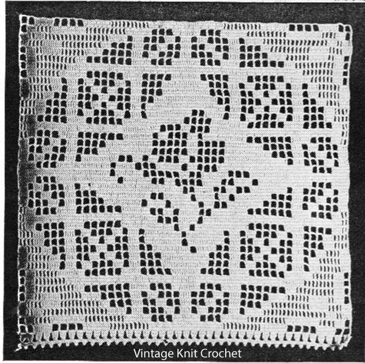 Filet Crochet Rose Square Pattern, 10-1/2 inches