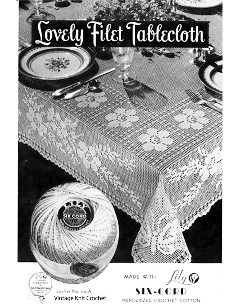 Filet Crochet Tablecloth Pattern, Flower Butterfly Motif