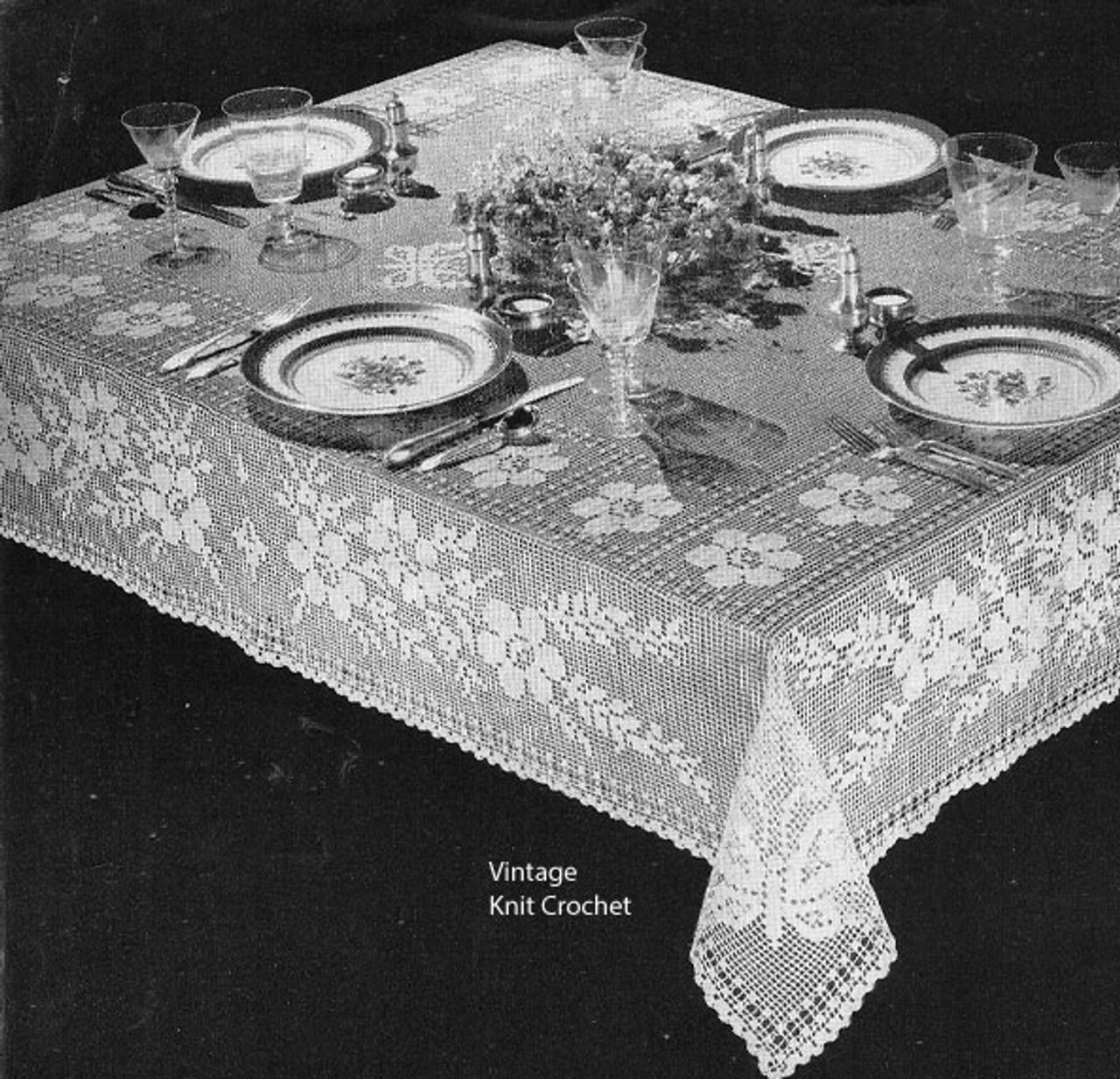 Filet Crochet Flower Tablecloth Pattern