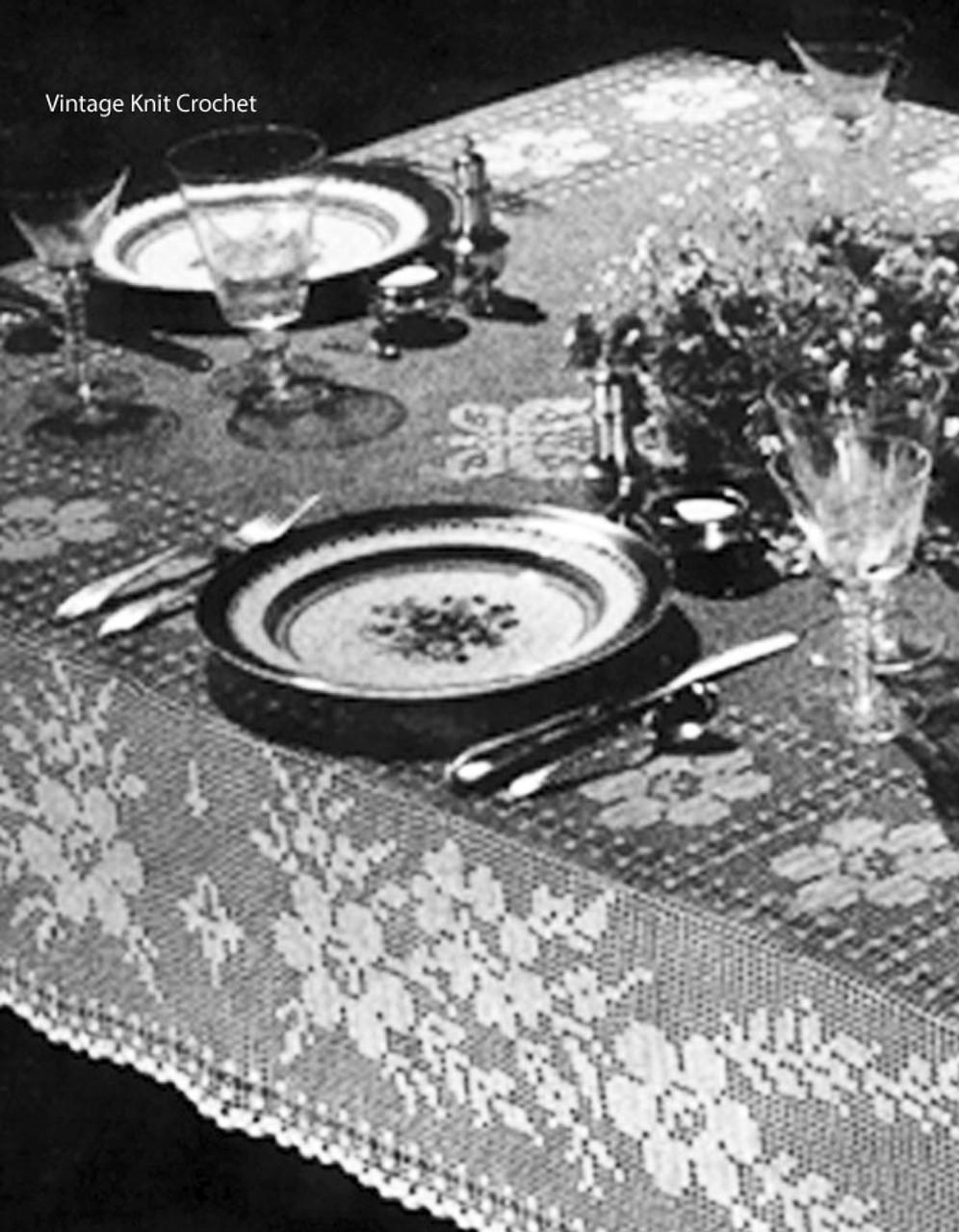 Vintage Filet Crochet Tablecloth Pattern Lily 64a