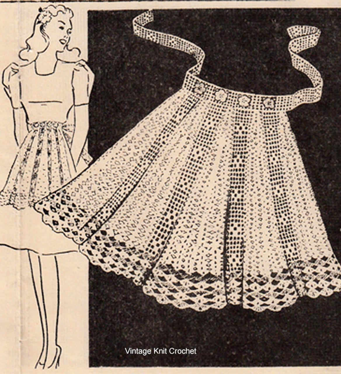 Vintage Apron Filet Crochet pattern for workbasket