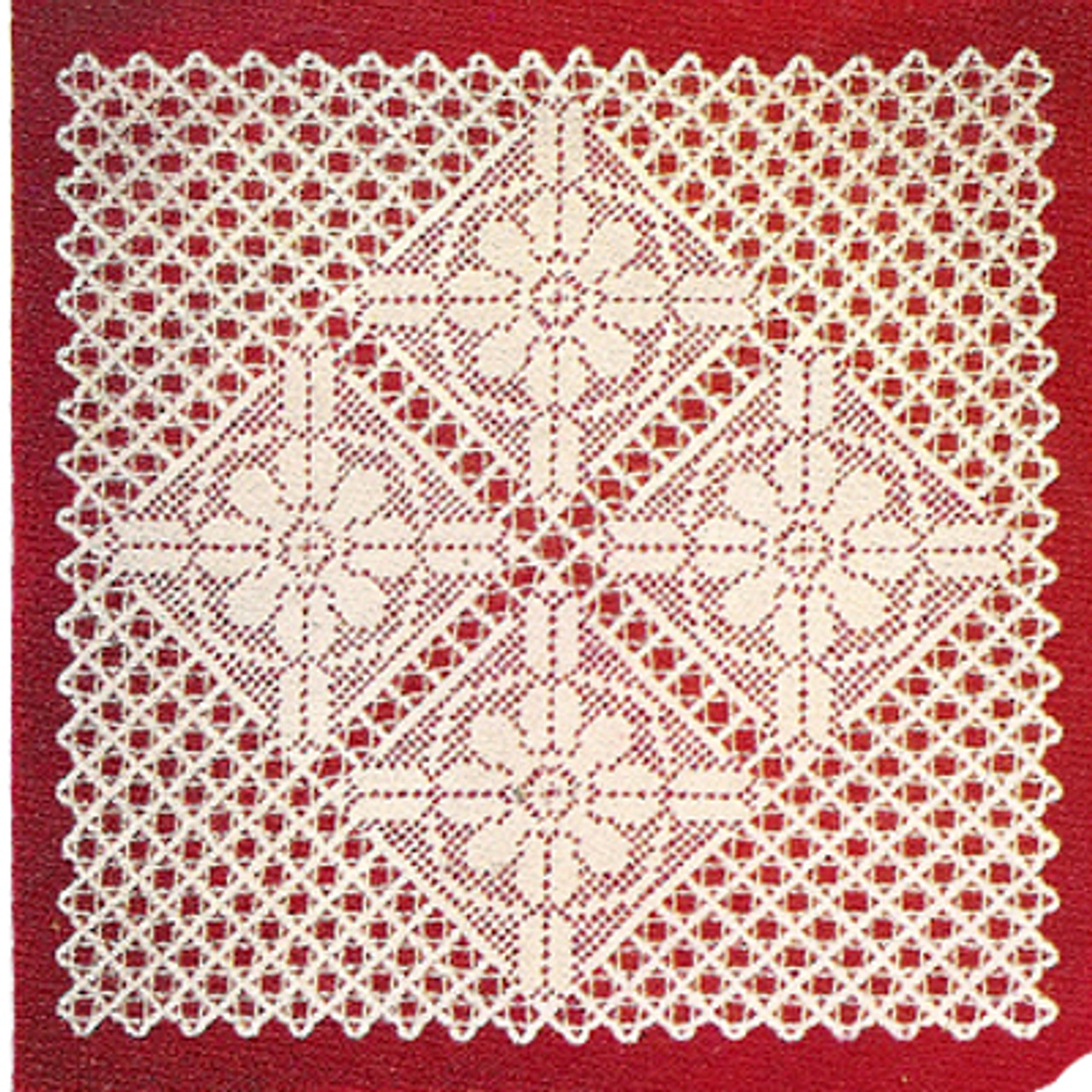 Square Filet Crochet Doily Pattern is 17 inches
