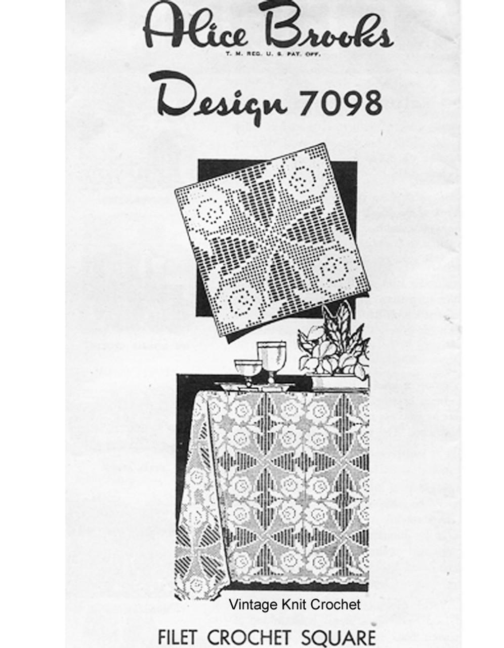 Rose Filet Crochet Square Tablecloth Pattern, Alice Brooks 7098