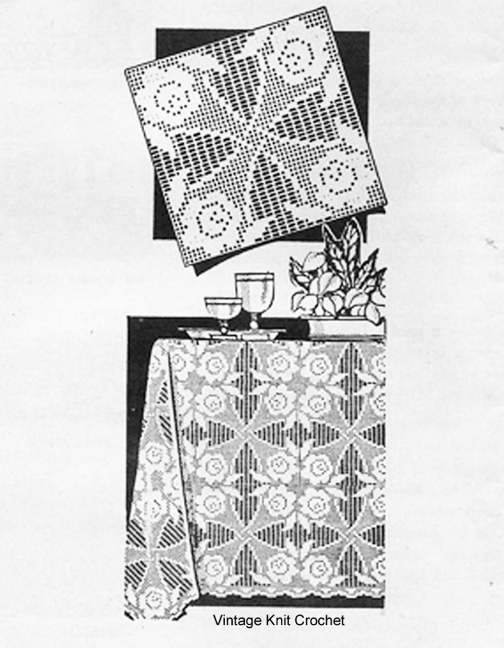 Mail Order Filet Crochet Tablecloth Square pattern, Design 7098