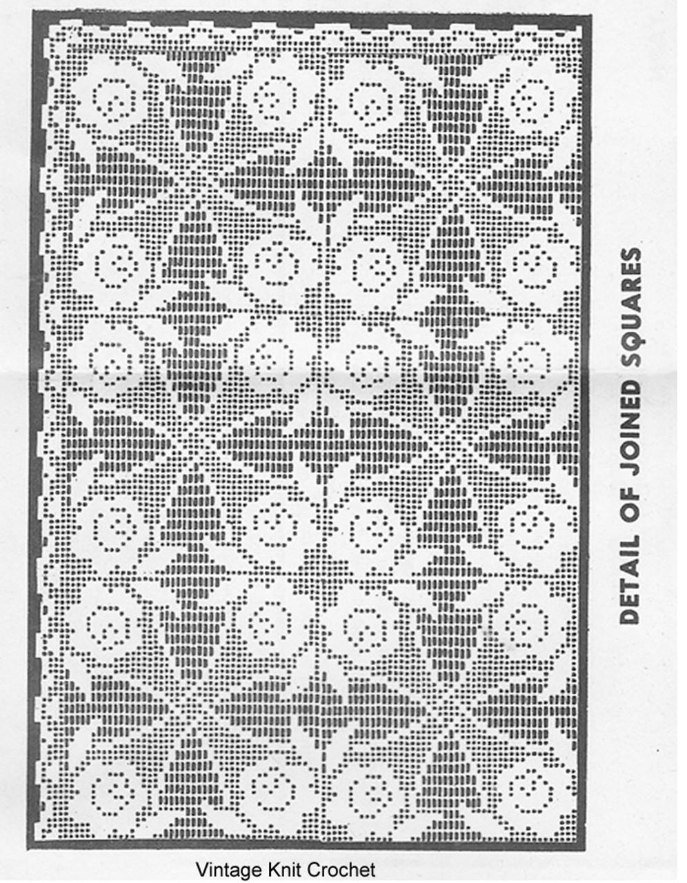 Filet Crochet Rose Tablecloth Pattern, Mail Order 7098