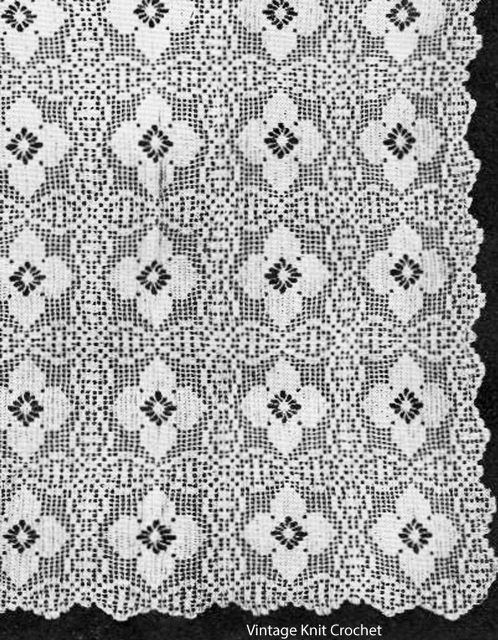 Filet Crochet Flower Medallion Cloth pattern No 807