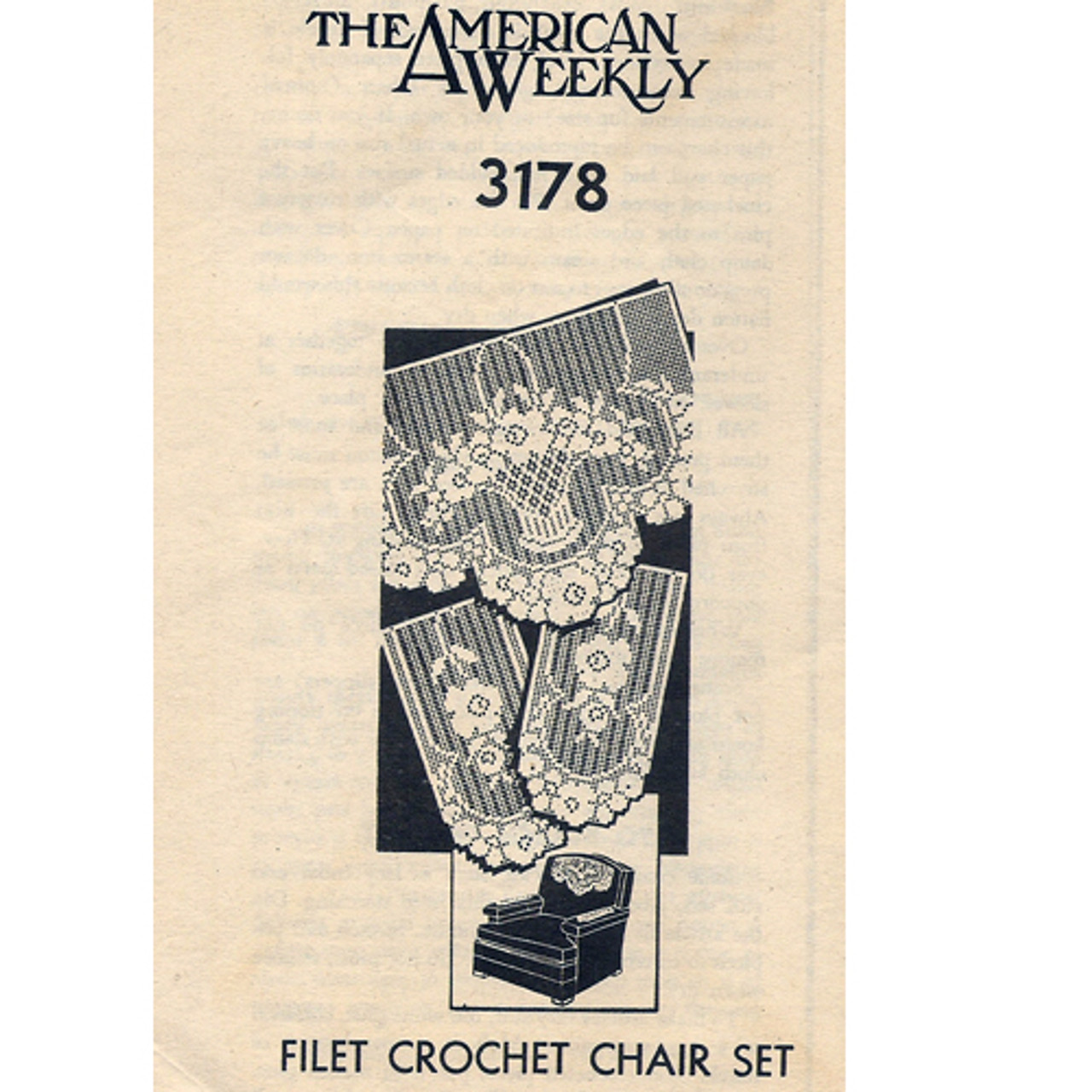 Filet Crochet Flower Basket Chair Set Pattern Mail Order American Weekly 3178