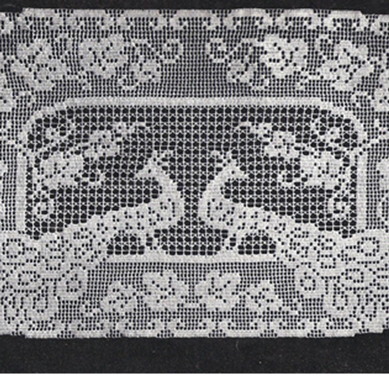 Lily Mills Peacock Runner Pattern in Filet Crochet