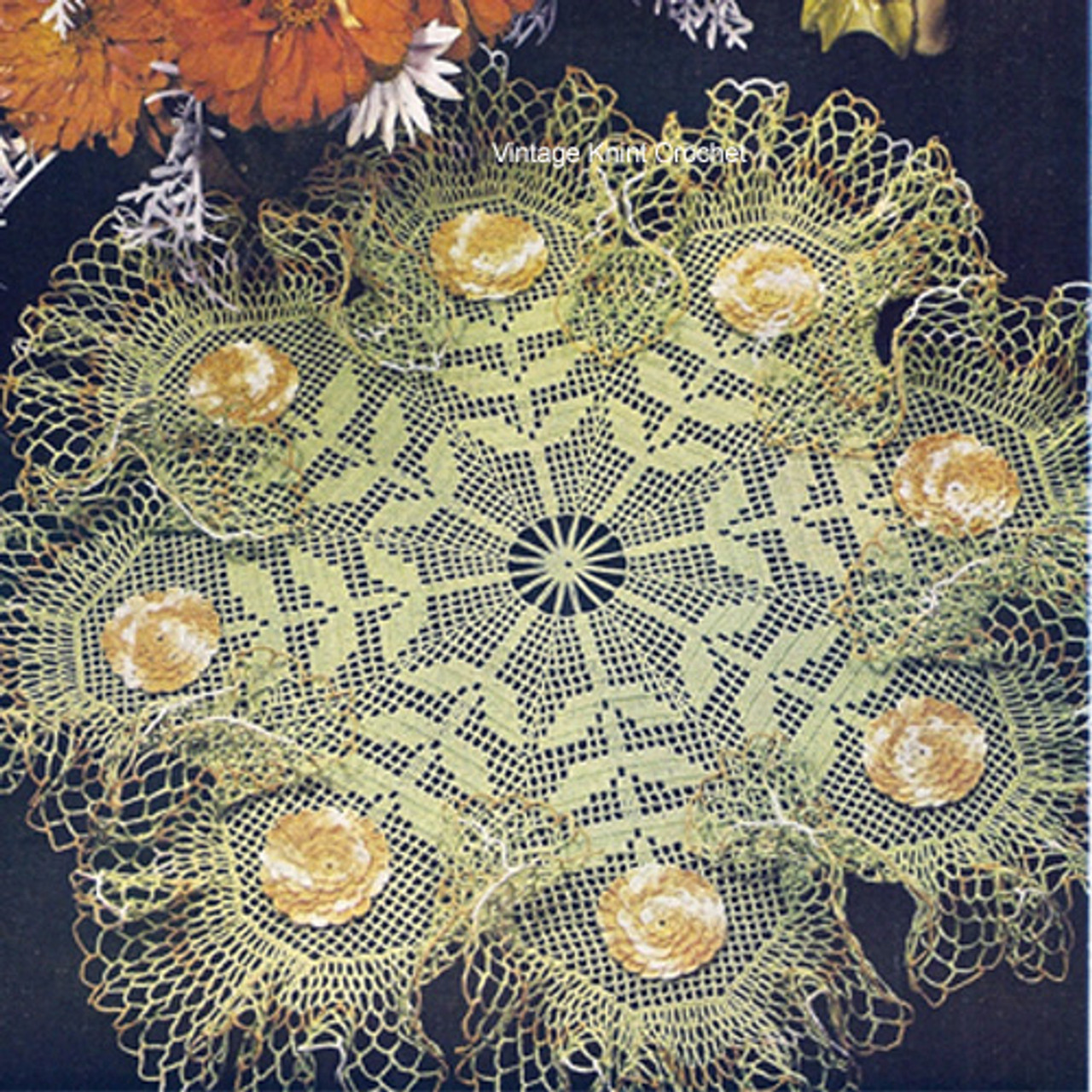 Ruffled Filet Crochet Flower Doily Pattern