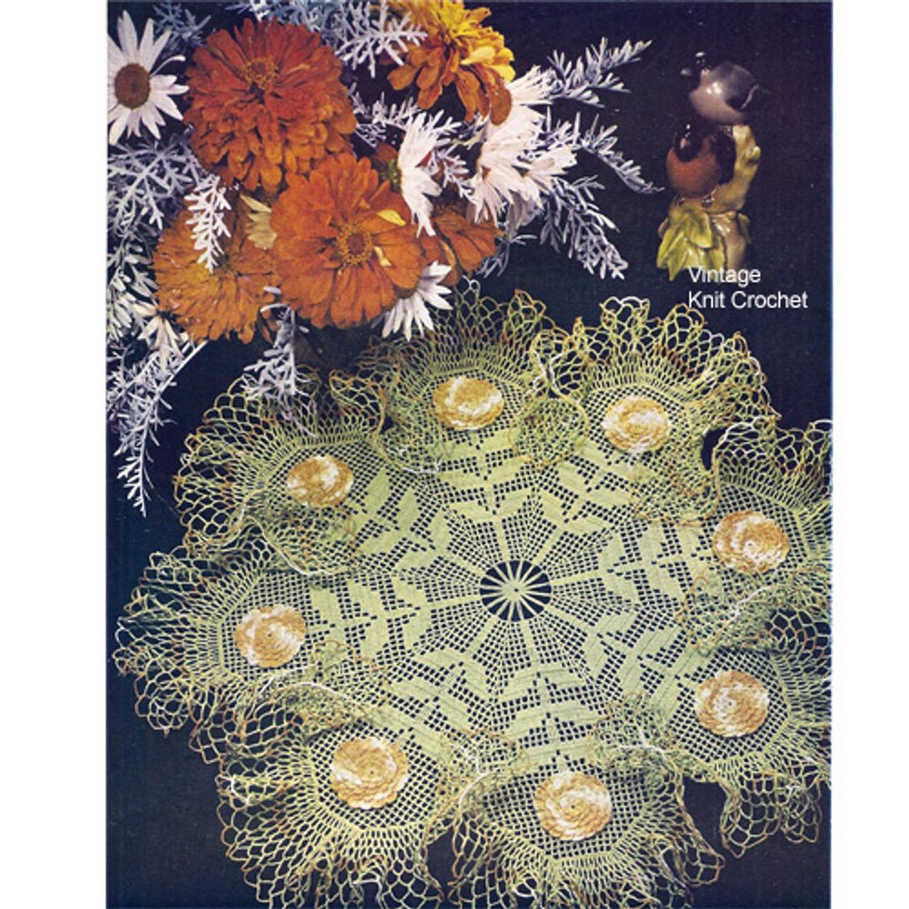 Vintage Filet Crochet Flower Doily Pattern