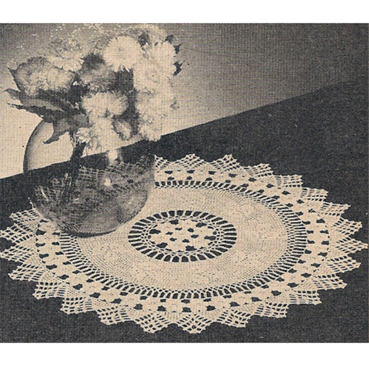 Rose Filet Crocheted Doily pattern from Workbasket