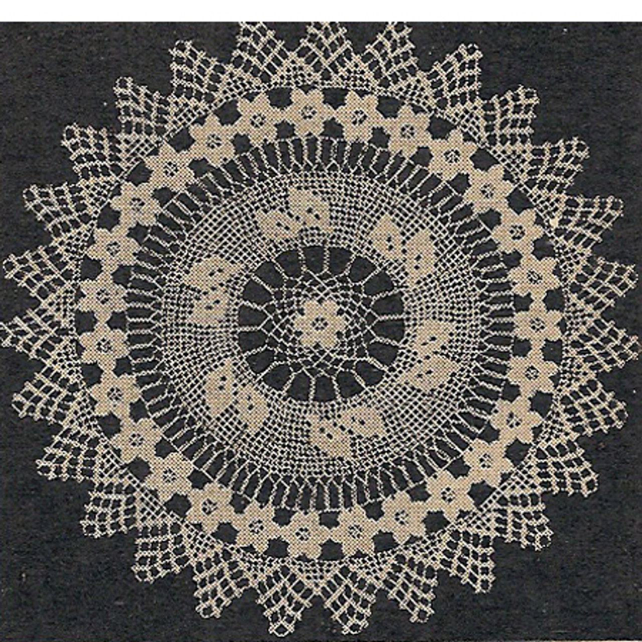 Workbasket Filet Crochet Rose Doily Pattern