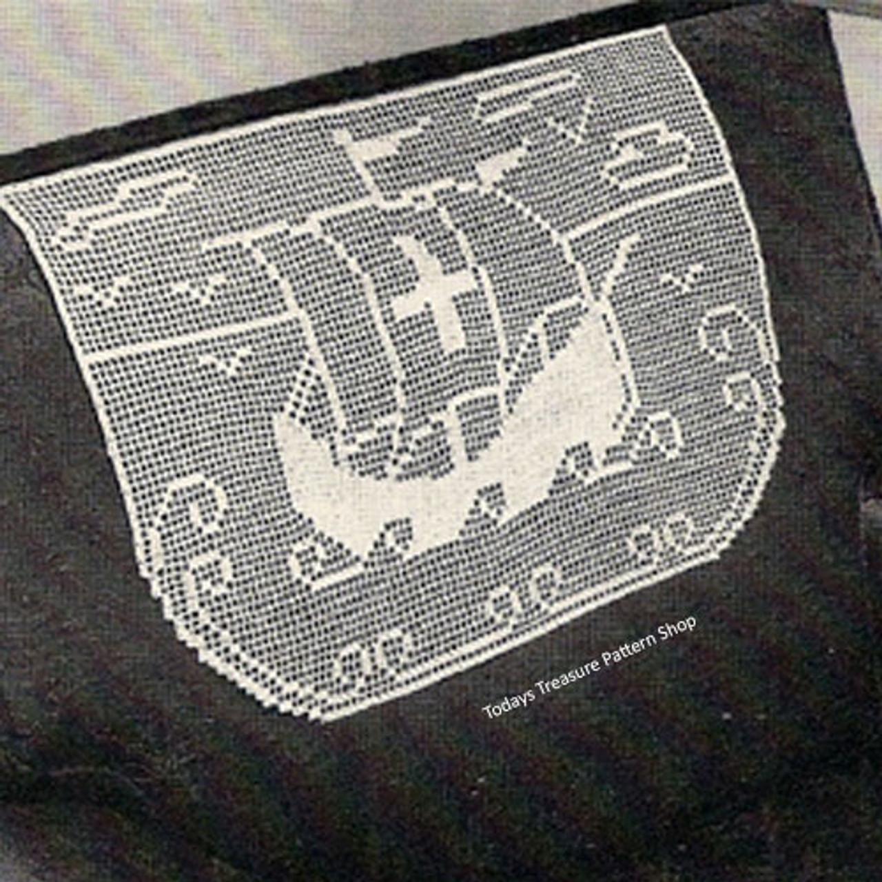 Vintage Viking Ship Doily Set pattern