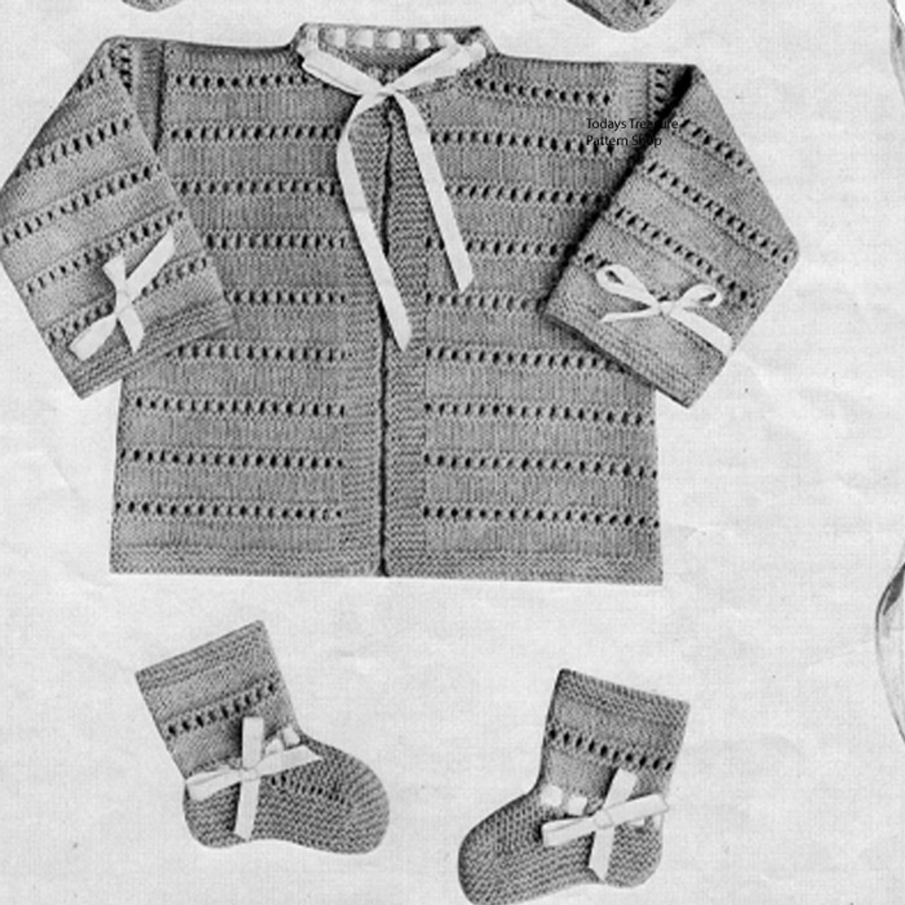 Vintage 1950 Baby Knitted Set from Doreen